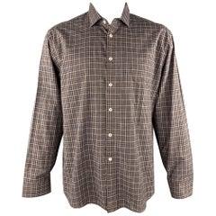 BILLY REID Size XXL Brown Plaid Cotton Patch Pocket Long Sleeve Shirt