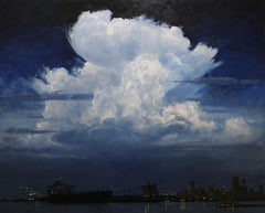 """Clouds Over the Crescent City"" original landscape oil painting, river, skyline"