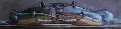 """""""Crab"""" original oil painting on canvas, still life, by Billy Solitario"""
