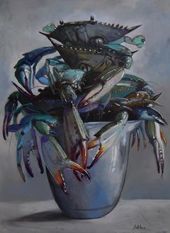 """Crab Pot"" oil painting, contemporary, colorful, still life, by Billy Solitario"