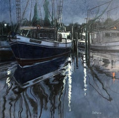 """Ocean Springs Harbor"" original oil painting, ocean, ships, by Billy Solitario"