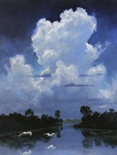 """Snow Egrets Under Summer Sky"" landscape oil painting, birds, swamp, clouds"