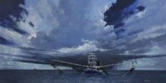 """Squall Over Shrimper"" original oil painting, fishing boat, ocean, sky, clouds"