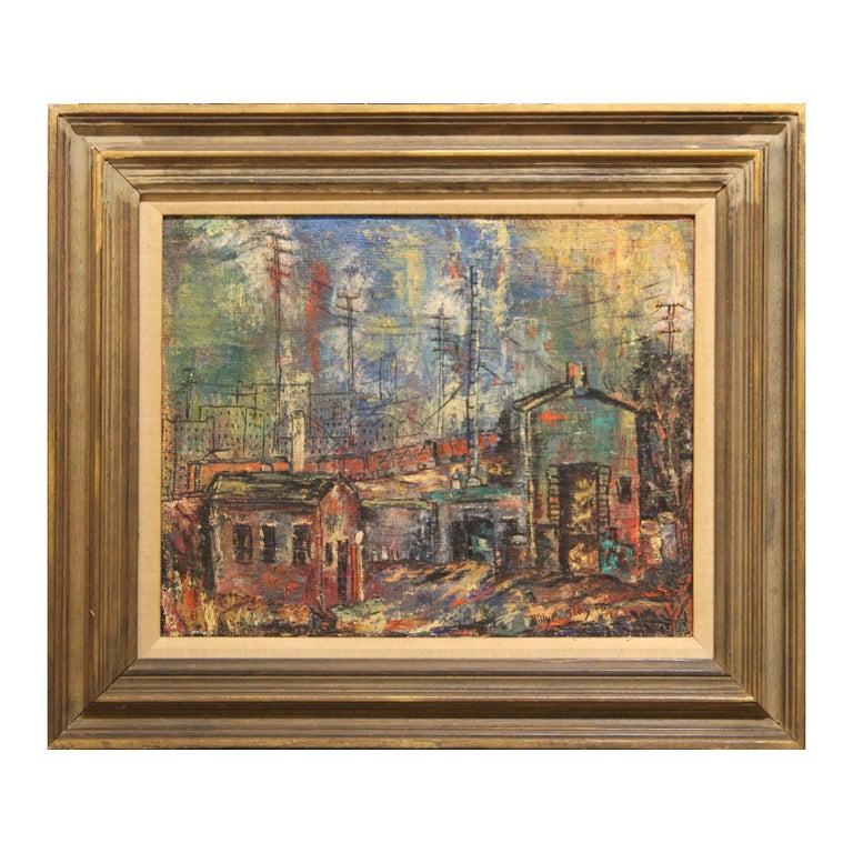 """Billye Slayton Landscape Painting - """"Slaughter House"""" Colorful Abstract Cityscape Painting"""