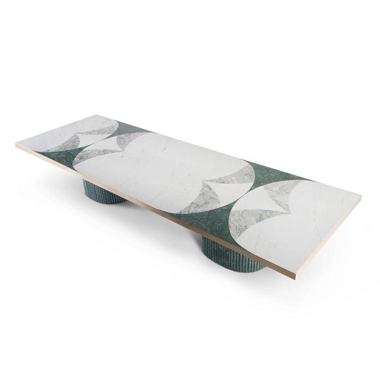 Modern Biloba 12-Seat Dining Table Green Guatemala Rosa Egeo Verde Antigua Marble Brass For Sale