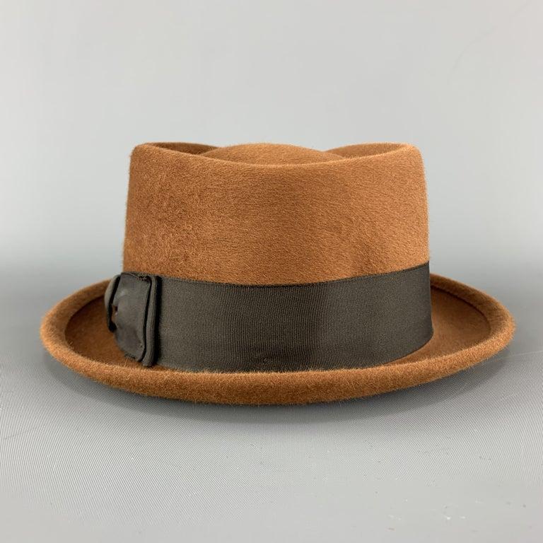BILTMORE Size 6 7/8Tan Brown Felt Black Ribbon Fedora Ha 1