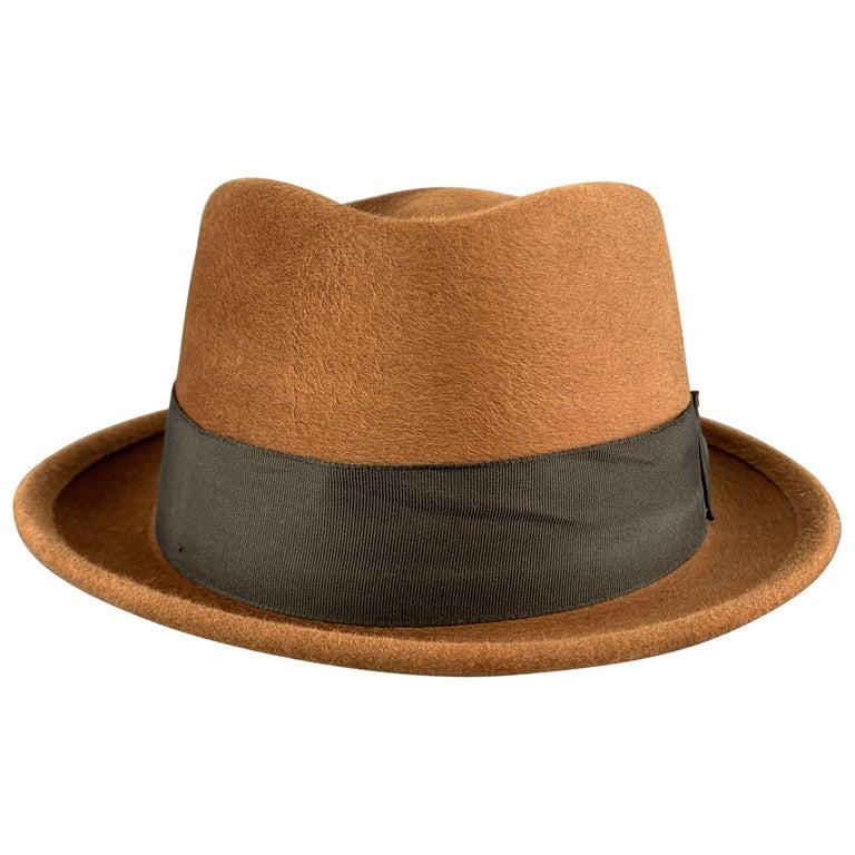 BILTMORE Size 6 7/8Tan Brown Felt Black Ribbon Fedora Ha