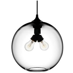 Binary Crystal Handblown Modern Glass Pendant Light, Made in the USA
