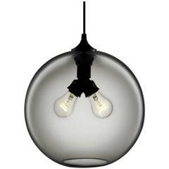 Binary Gray Handblown Modern Glass Pendant Light, Made in the USA