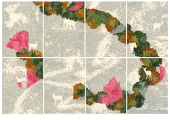 Lost Soul - Set of 8 Contemporary Paintings in Pink + Green + Grey