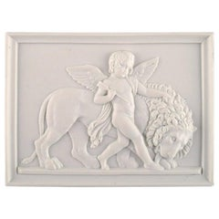 Bing and Grøndahl after Thorvaldsen, Antique Wall Plaque with Putto and Lion
