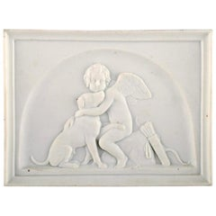 Bing and Grondahl after Thorvaldsen, Antique Biscuit Wall Plaque, Cupid and Dog