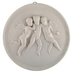 Bing & Grøndahl after Thorvaldsen, Antique Biscuit Wall Plaque with Putti