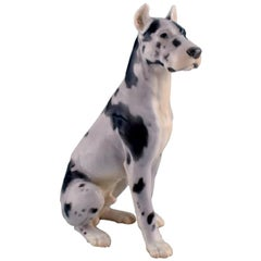 Bing & Grøndahl Porcelain Figure, Sitting Great Dane, 1920s