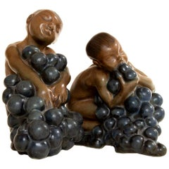 Bing & Grøndahl, Stoneware Figurines, Bacchus and Boy with Grapes by Kai Nielsen