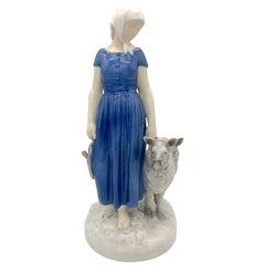 Bing & Grøndahl Kopenhagen Axel Locker Porcelain Sculpture Young Sheperdess