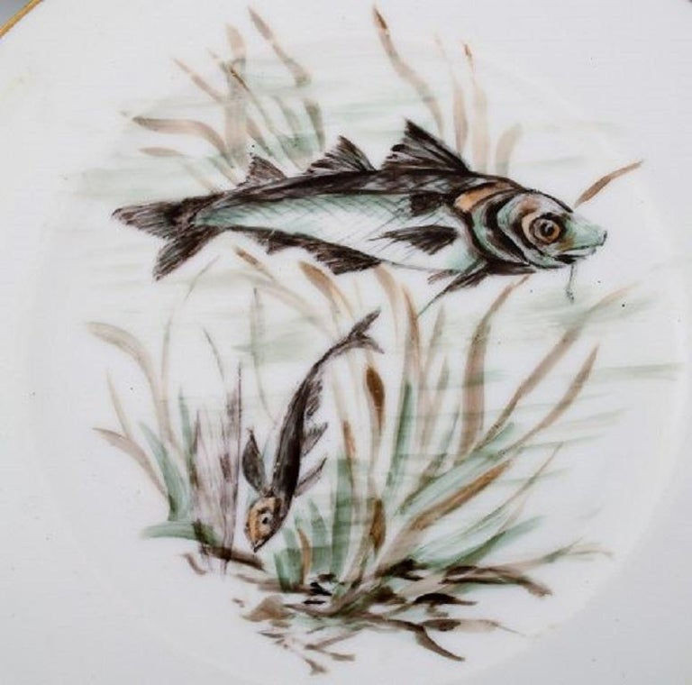 Danish Bing & Grondahl / B&G, Five Plates in Hand Painted Porcelain with Fish Motifs For Sale
