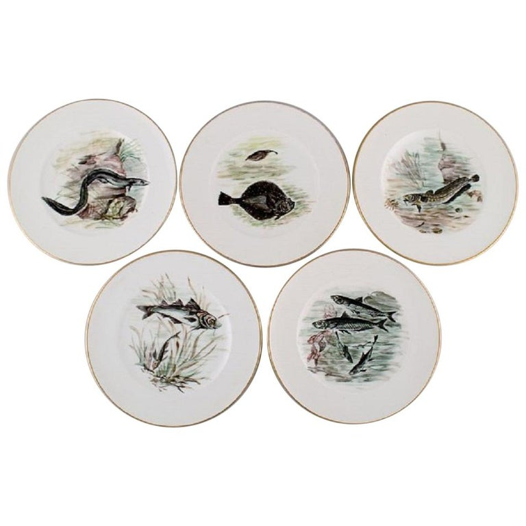 Bing & Grondahl / B&G, Five Plates in Hand Painted Porcelain with Fish Motifs For Sale