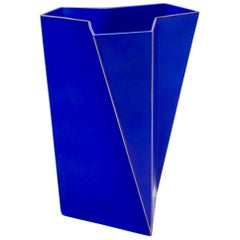 Bing & Grondahl Geometric Blue Porcelain Futura Vase by Else Kamp, Denmark 1980s