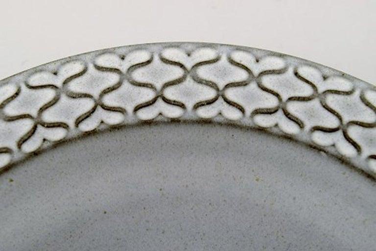 Scandinavian Modern Bing & Grondahl Number 322, Set of 7 Deep Plates, B & G Grey Cordial Quistgaard For Sale