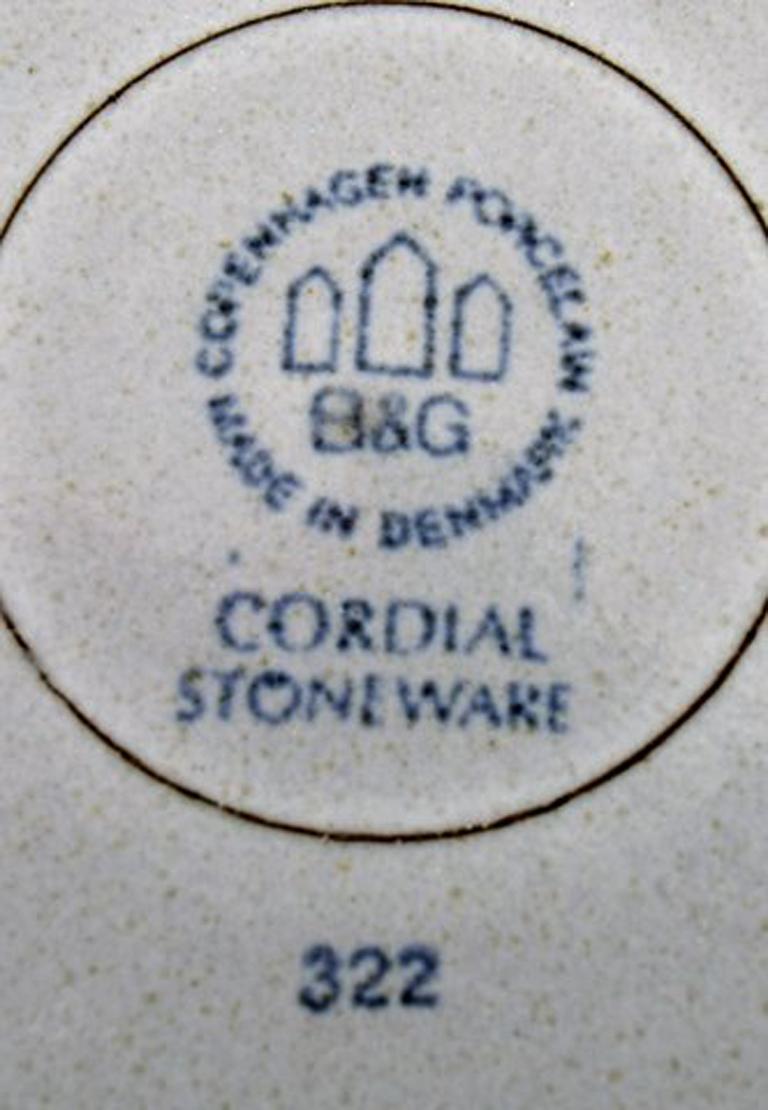 Danish Bing & Grondahl Number 322, Set of 7 Deep Plates, B & G Grey Cordial Quistgaard For Sale