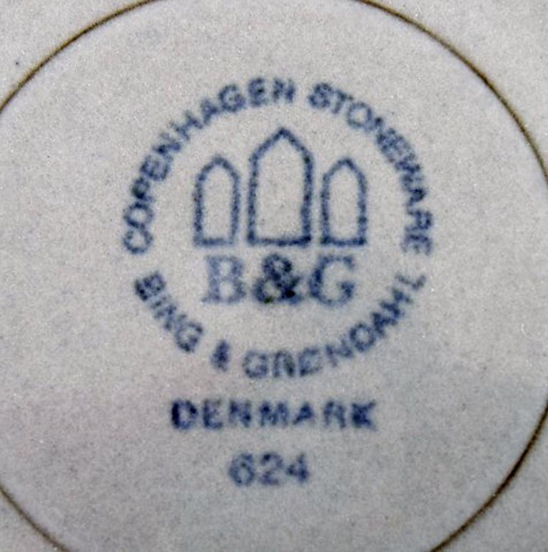 Danish Bing & Grondahl Number 624, Set of 10 Dinner Plates, B & G Grey Cordial For Sale