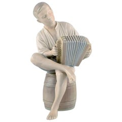 Bing & Grondahl Porcelain Figure, Boy with an Accordion, 1950s