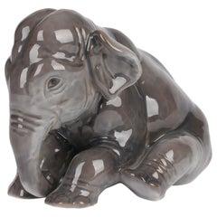 Bing & Grondhal Danish Glazed Porcelain Seated Elephant Figure