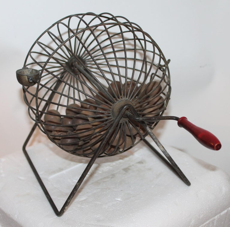 Adirondack Bingo Roller with Numbered Wood Balls For Sale