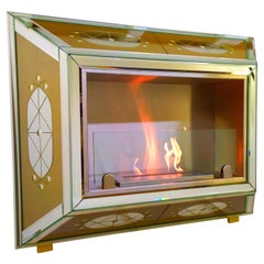 Bioethanol Fireplace in Gilded Murano Glass Mirror, Produced by Fratelli Tosi