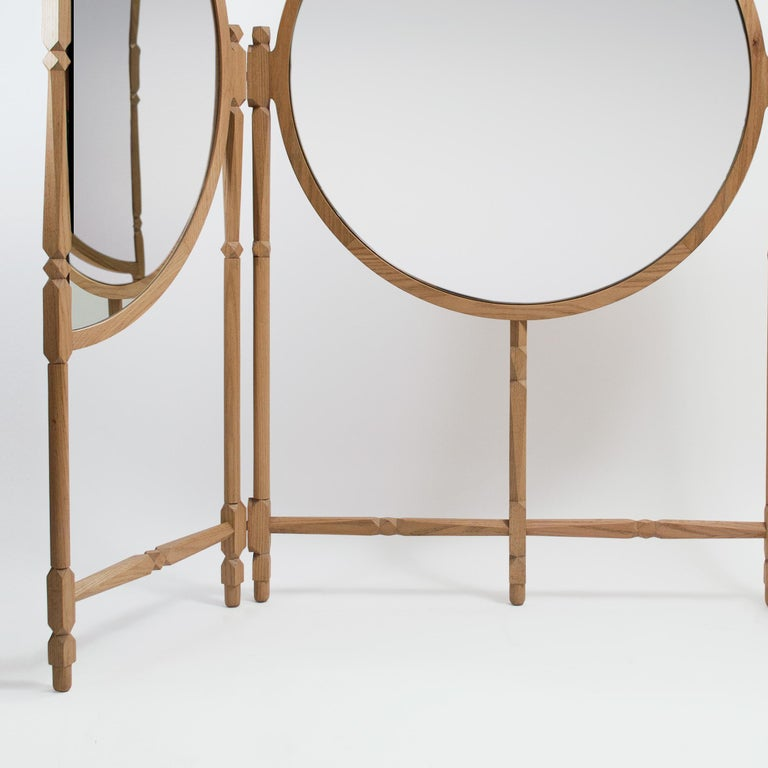 Biombo Contemporary Oak, Natural and Copper-Smoked Glass Floor Mirror Triptych In New Condition For Sale In Mexico City, MX