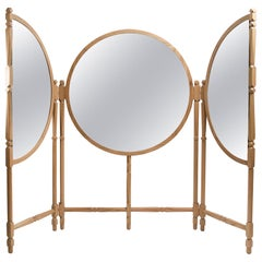 Biombo Contemporary Oak, Natural and Copper-Smoked Glass Floor Mirror Triptych