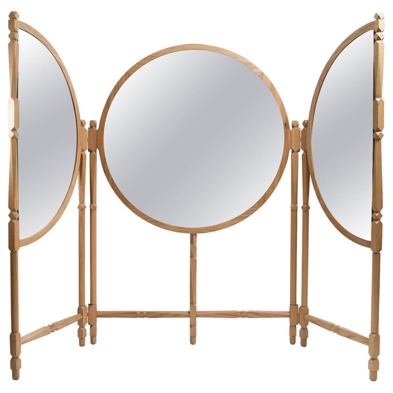 Biombo Contemporary Oak, Natural and Copper-Smoked Glass Floor Mirror Triptych For Sale