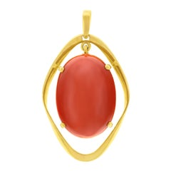 Biomorphic 1960s Coral Set Gold Pendant