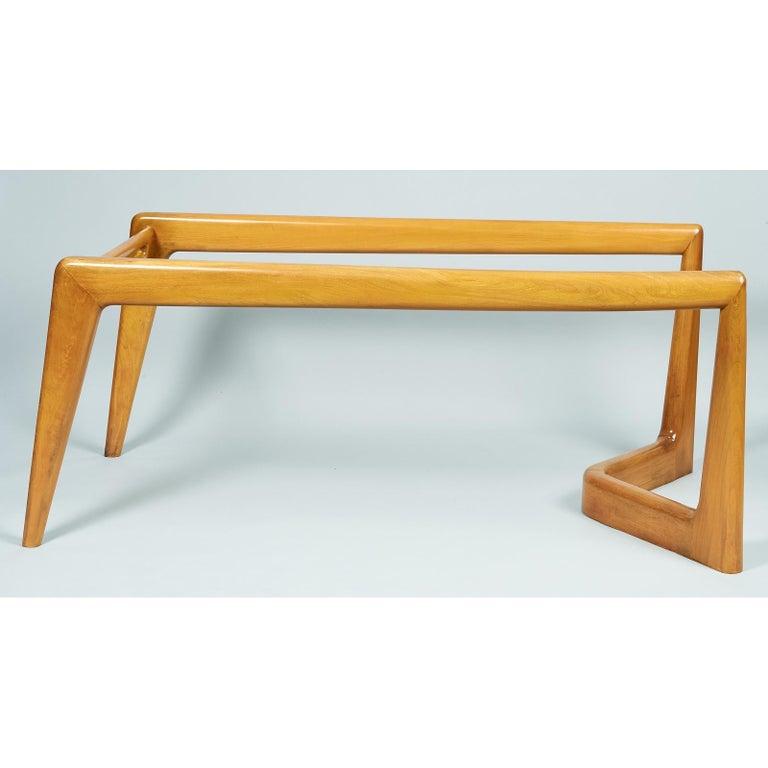 Pierluigi Giordani Monumental Biomorphic Dining Table, Walnut&Glass, Italy 1950s For Sale 5
