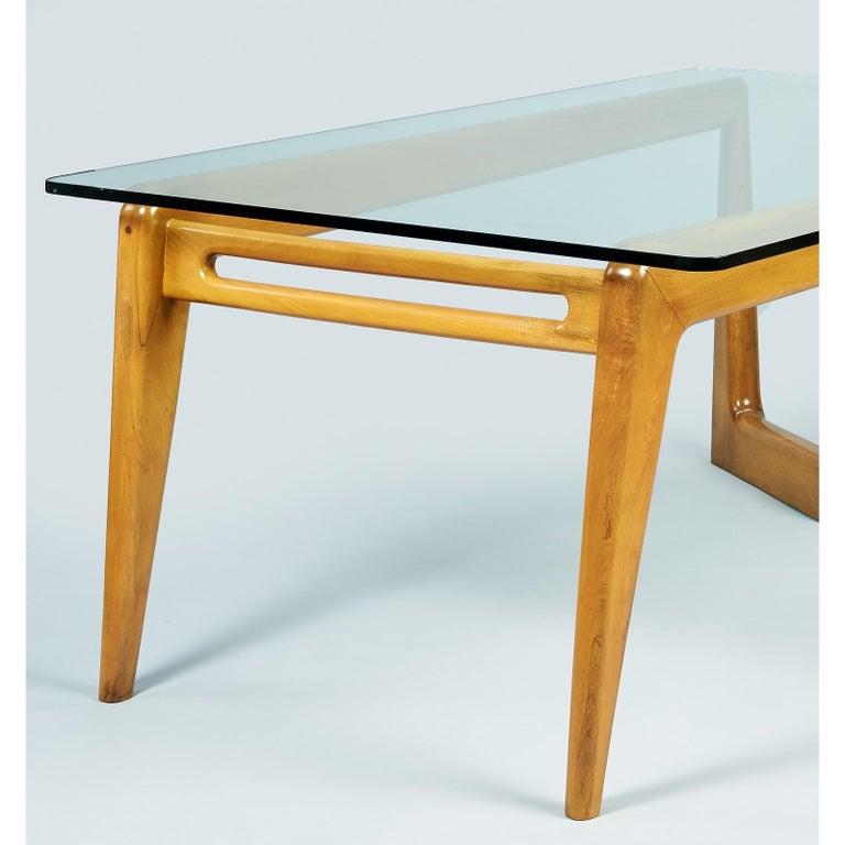 Pierluigi Giordani Monumental Biomorphic Dining Table, Walnut&Glass, Italy 1950s For Sale 6