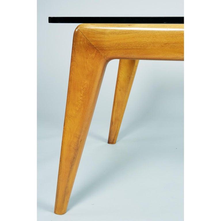 Pierluigi Giordani Monumental Biomorphic Dining Table, Walnut&Glass, Italy 1950s For Sale 7