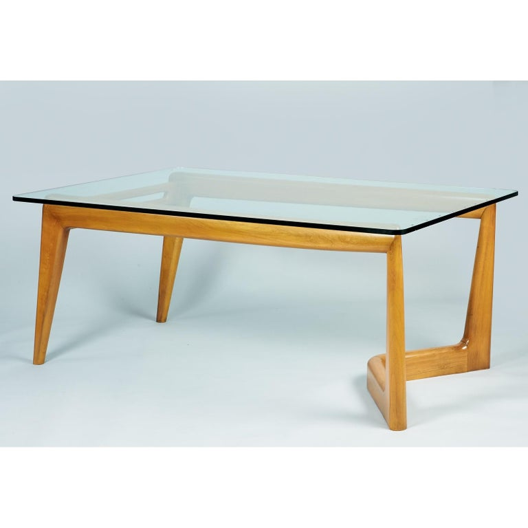 Mid-Century Modern Pierluigi Giordani Monumental Biomorphic Dining Table, Walnut&Glass, Italy 1950s For Sale
