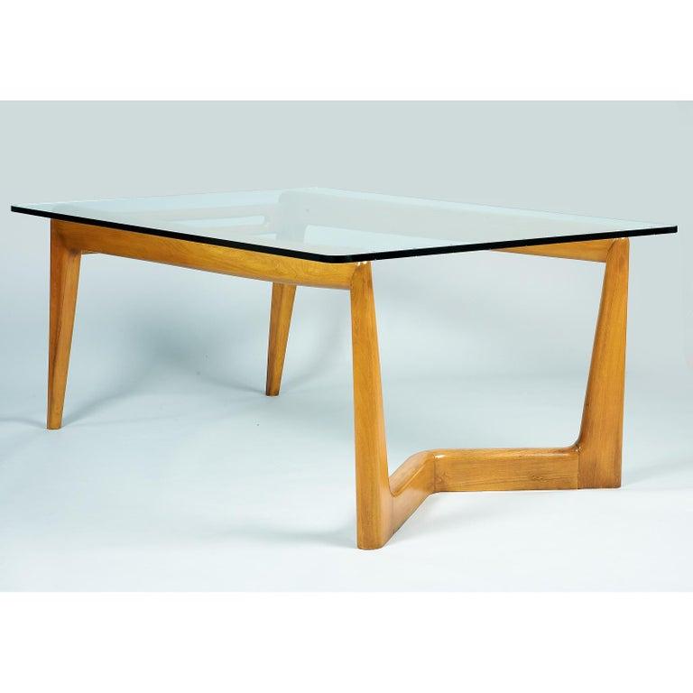 Italian Pierluigi Giordani Monumental Biomorphic Dining Table, Walnut&Glass, Italy 1950s For Sale