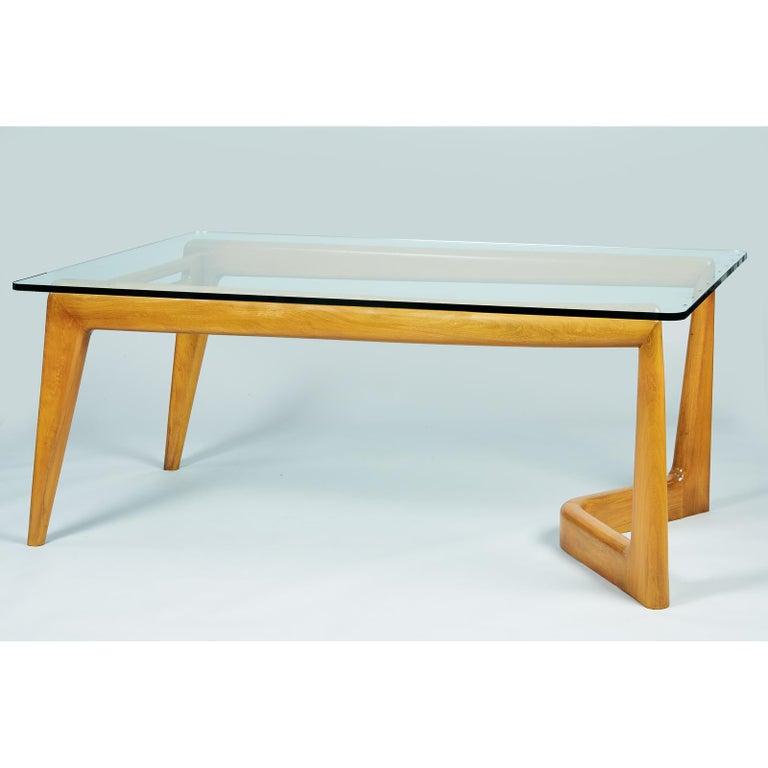 Pierluigi Giordani Monumental Biomorphic Dining Table, Walnut&Glass, Italy 1950s For Sale 1