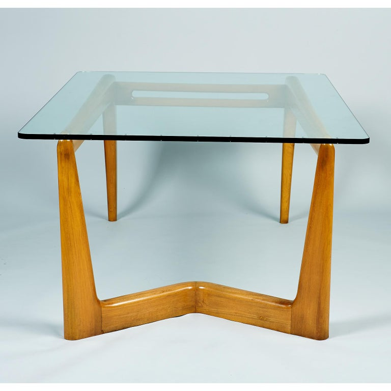 Pierluigi Giordani Monumental Biomorphic Dining Table, Walnut&Glass, Italy 1950s For Sale 2