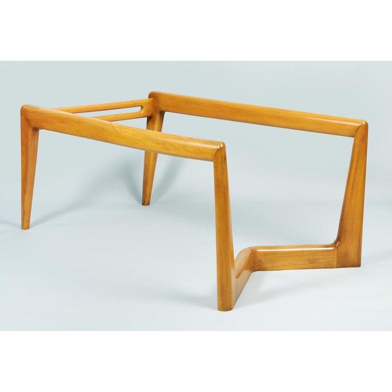 Pierluigi Giordani Monumental Biomorphic Dining Table, Walnut&Glass, Italy 1950s For Sale 4