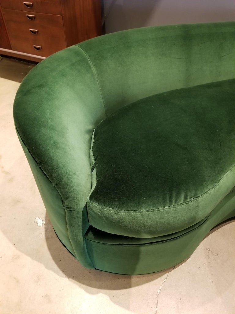 Mid-Century Modern Biomorphic Kidney Form Sofa by Directional Furniture in Emerald Green Velvet For Sale