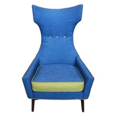 Biomorphic Mid-Century Modern Highback Chair in the Style of Adrian Pearsall