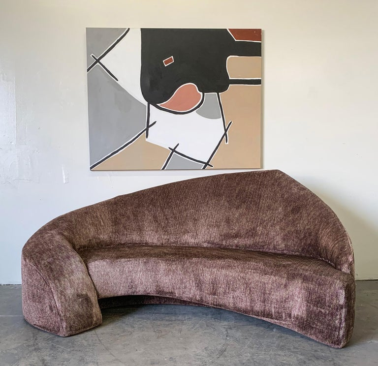 An absolutely stunning Postmodern sofa designed and created in the mid-1990s. This stunning sofa is evocative of Vladimir Kagan custom designs and would lend itself nicely to Mid-Century Modern and postmodern styling. This contemporary Kagan, cloud