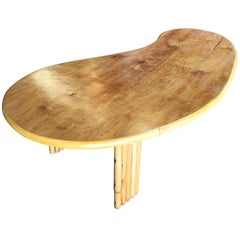 Biomorphic Rattan Coffee Table with Wood Top
