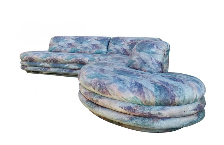 Post-Modern Biomorphic Sectional Sofa in Wild 1980s Upholstery, by Directional For Sale