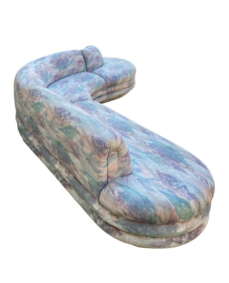 Biomorphic Sectional Sofa in Wild 1980s Upholstery, by Directional For Sale 2