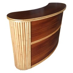 Biomorphic Stacked Rattan Bar with Mahogany Front & Top