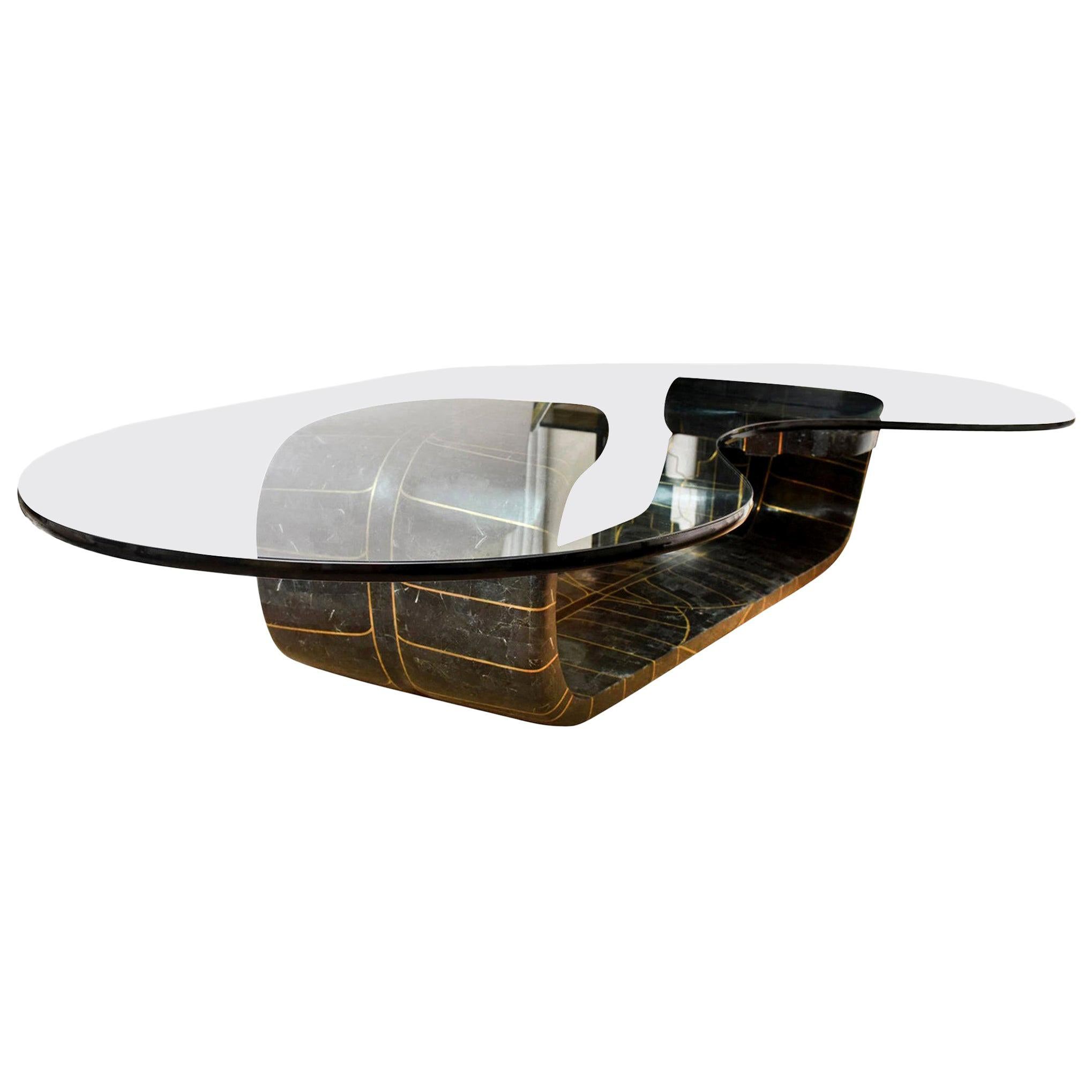 Biomorphic Tessellated Stone and Inlaid Brass Sculptural Cocktail Table
